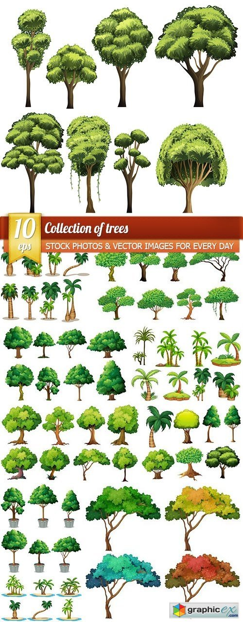 Collection of trees, 10 x EPS