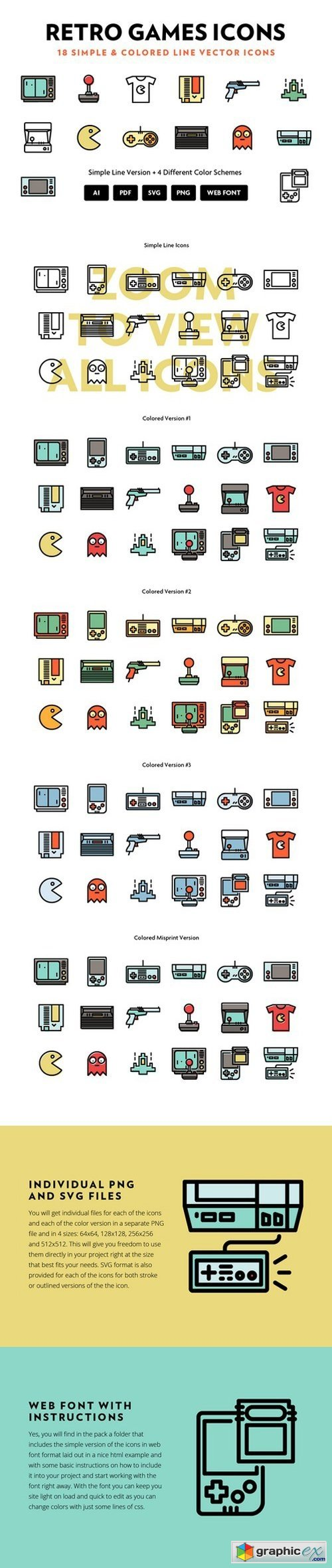 Retro Games Line Icons » Free Download Vector Stock Image Photoshop Icon