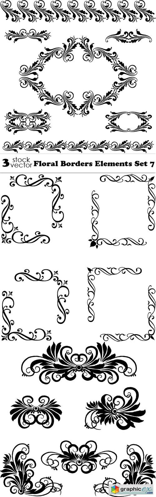 Floral Borders Elements Set 7