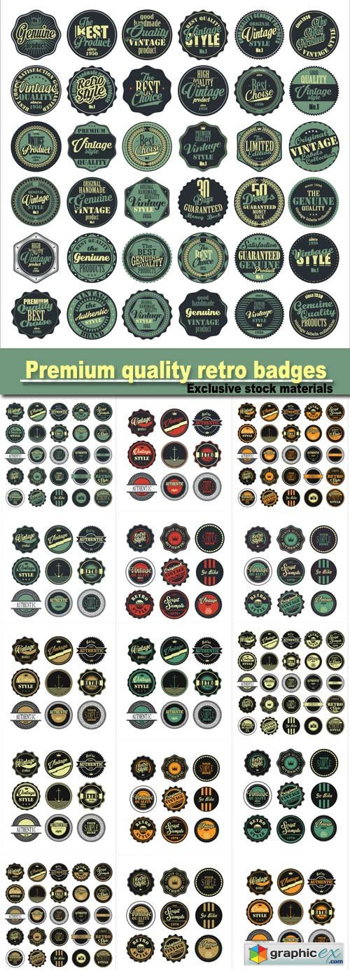 Premium quality retro badges, vintage labels