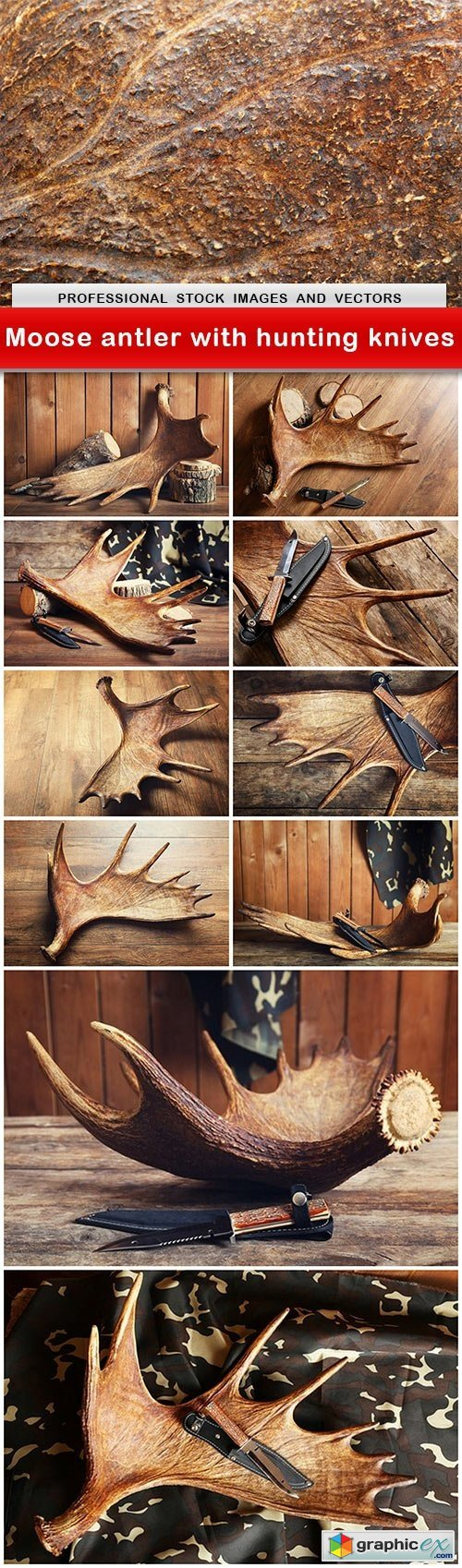 Moose antler with hunting knives - 11 UHQ JPEG