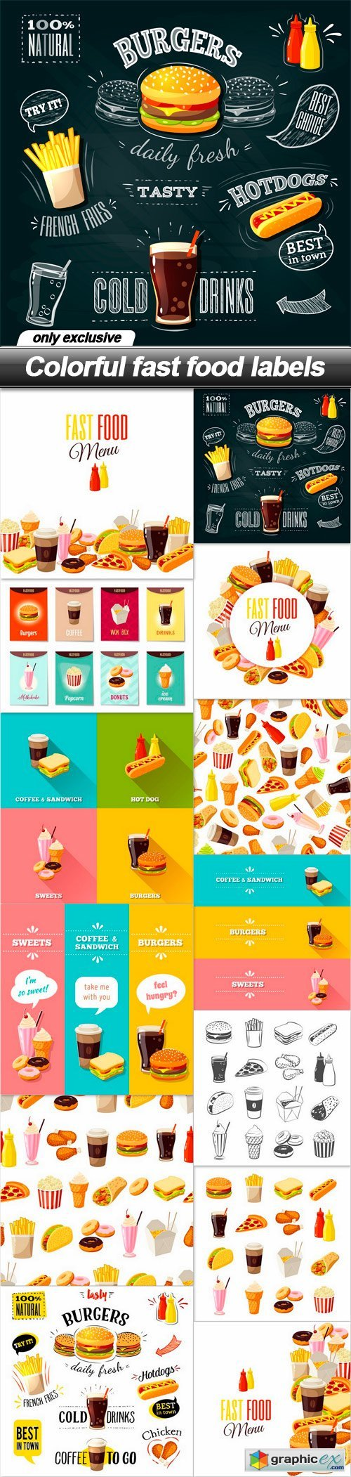 Colorful fast food labels - 13 EPS