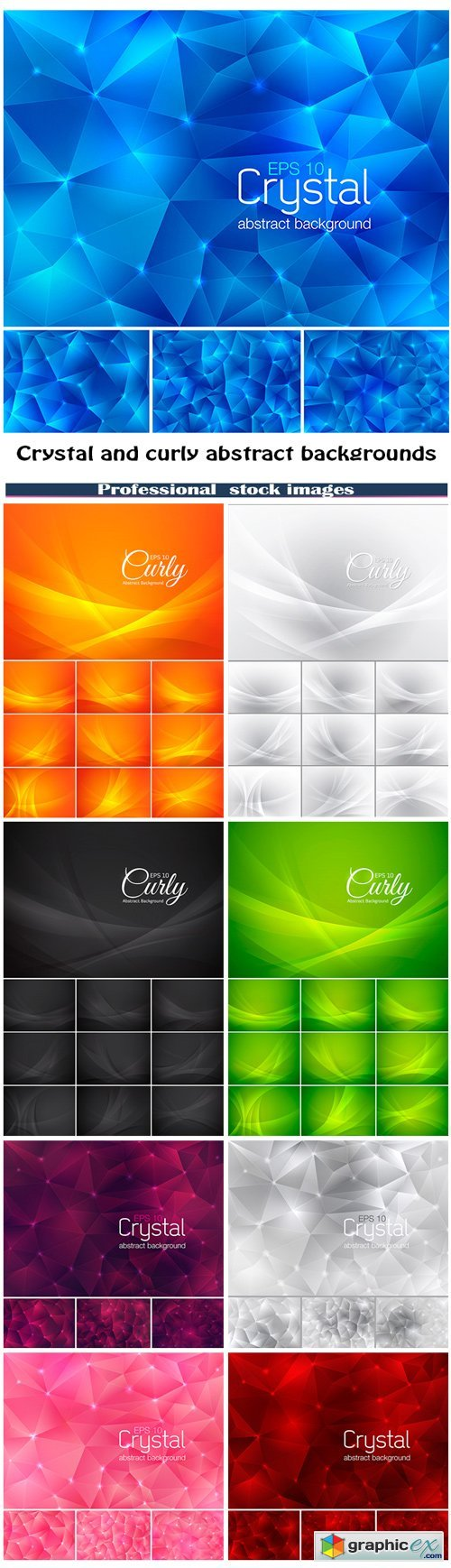 Crystal and curly abstract backgrounds