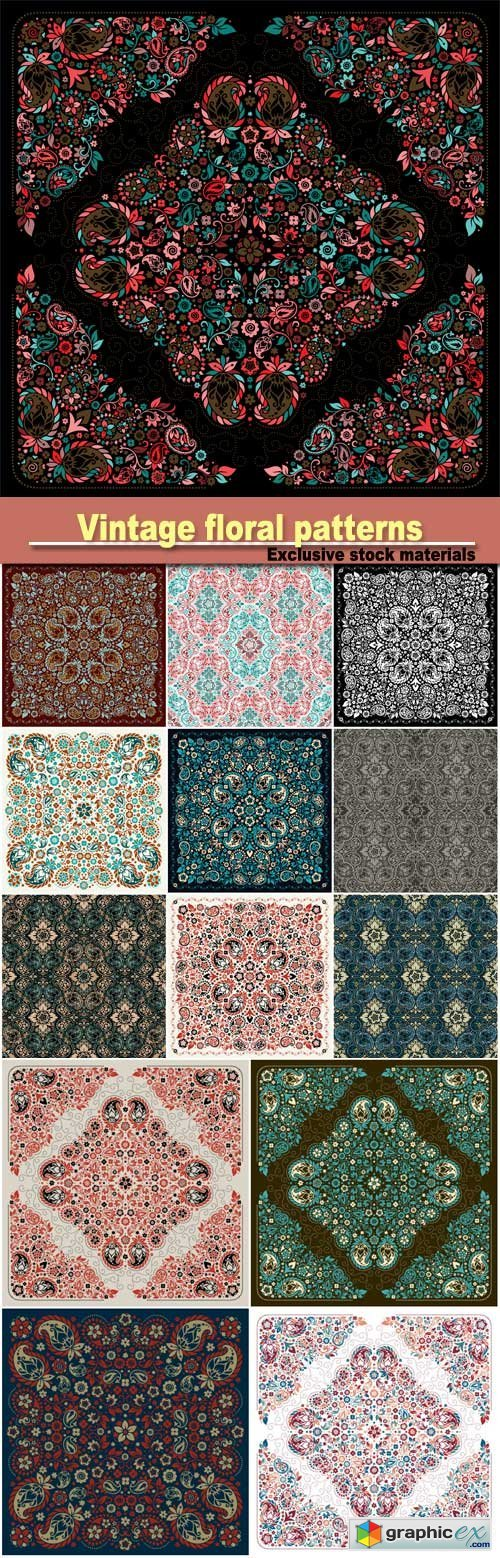 Vector backgrounds with vintage floral patterns