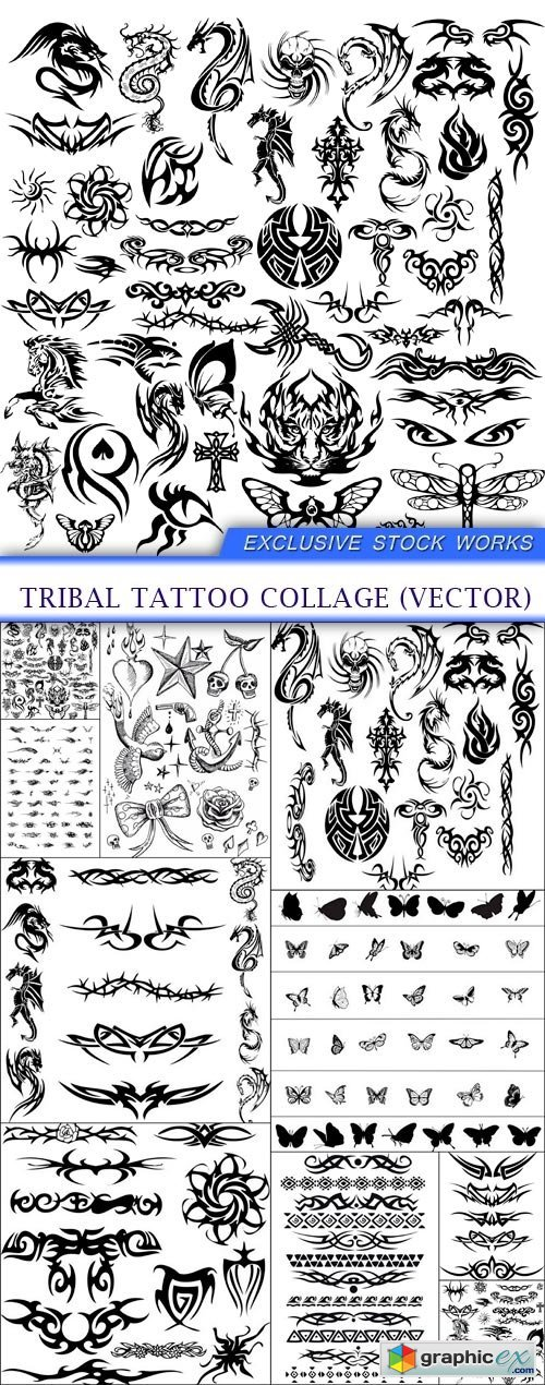 Tribal tattoo collage (vector) 10X EPS