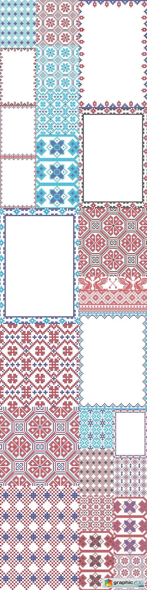 Embroidered pattern on transparent background 5