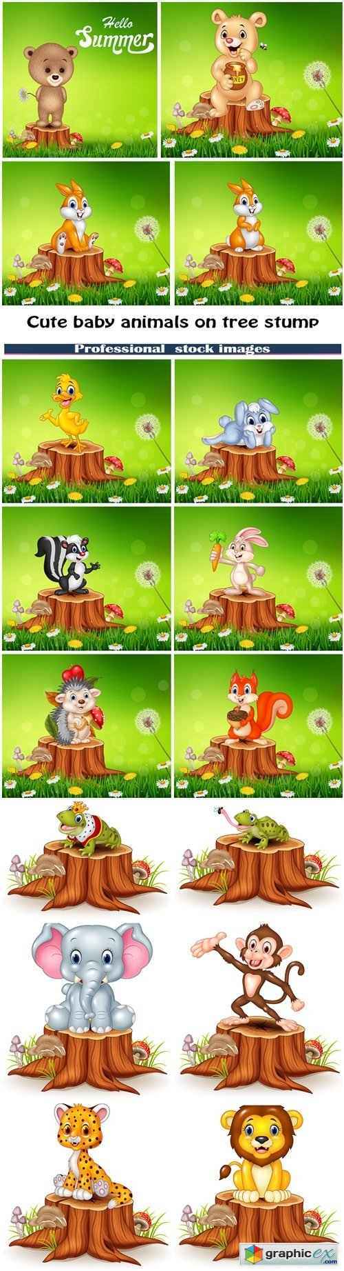 Cute baby animals on tree stump