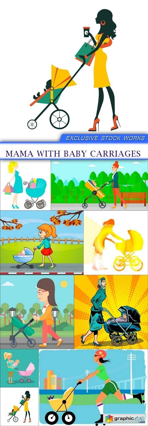 Mama with baby carriages 9X EPS