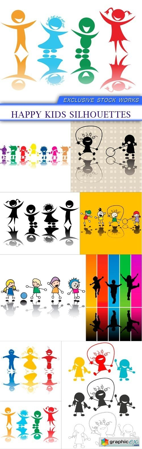 Happy kids silhouettes 9X EPS