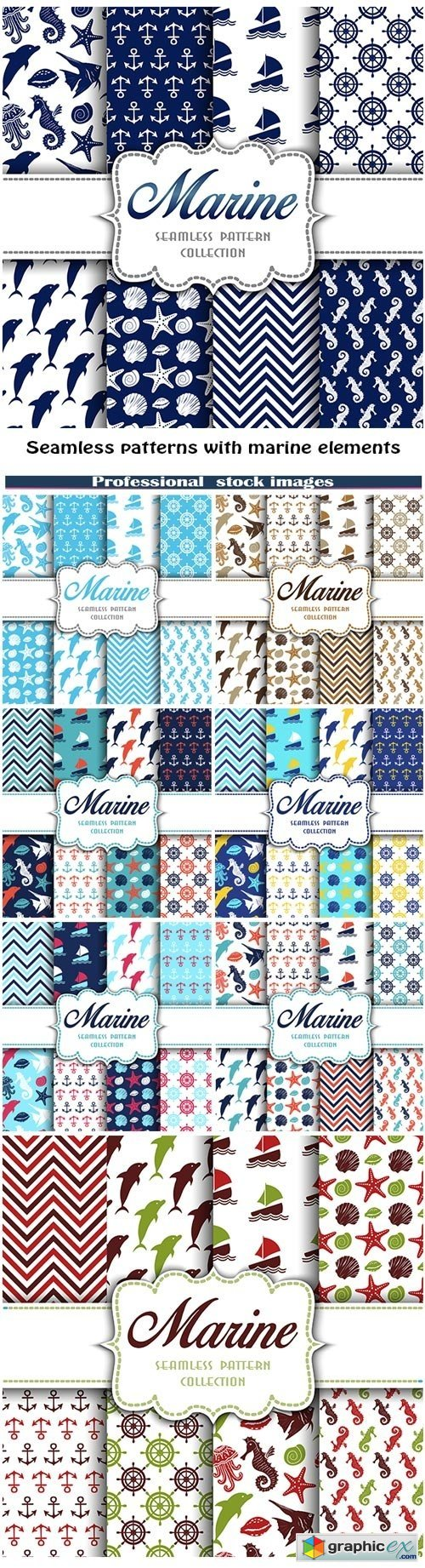 Seamless patterns with marine elements