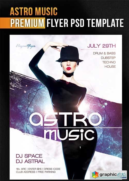 Astro Music Flyer PSD Template + Facebook Cover » Free