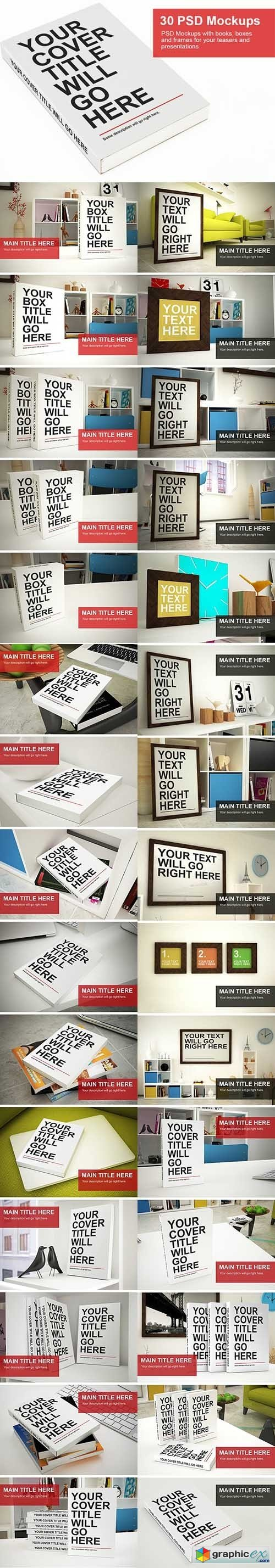 30 PSD Mock-Ups - Books Boxes and Frames