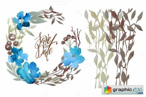 Watercolor floral DIY - 35 elements!