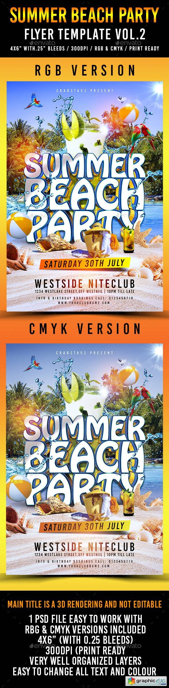 Summer Beach Party Flyer Template Vol.2
