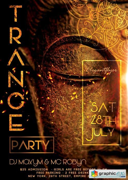 Trance Party V02 Flyer PSD Template + Facebook Cover