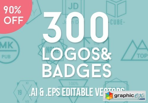 300 Fully Customizable Logos and Badges