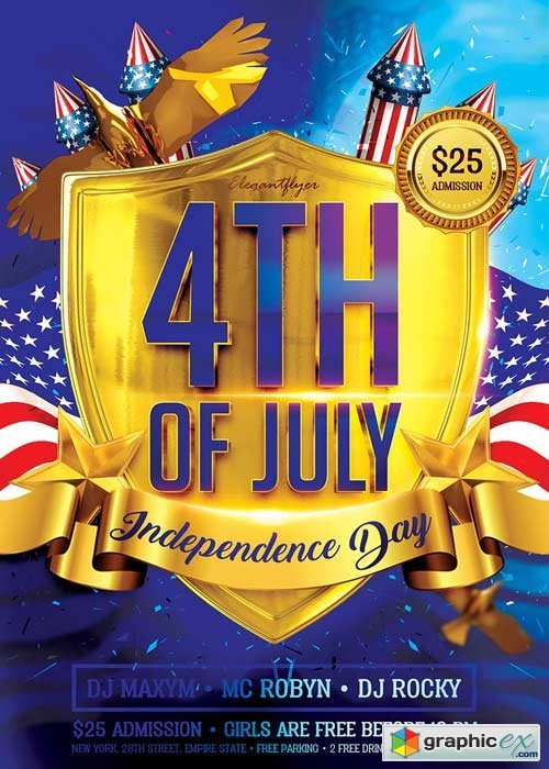 4th of July V3 Flyer PSD Template + Facebook Cover