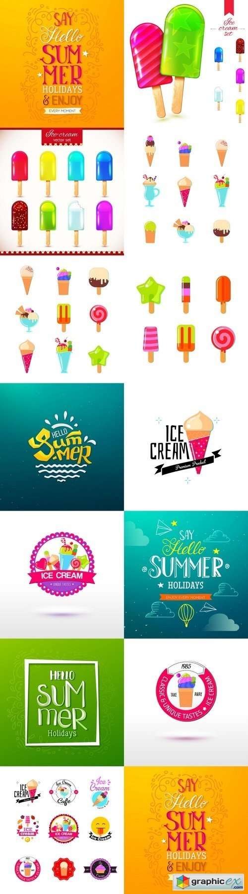Ice Cream Design Badges and Labels