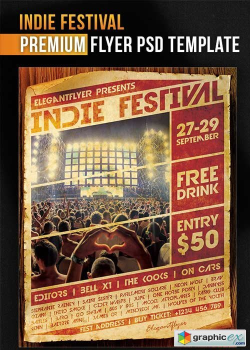Indie Festival V1 Flyer PSD Template + Facebook Cover