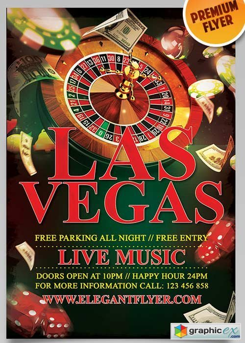 Las Vegas V3 Flyer PSD Template + Facebook Cover