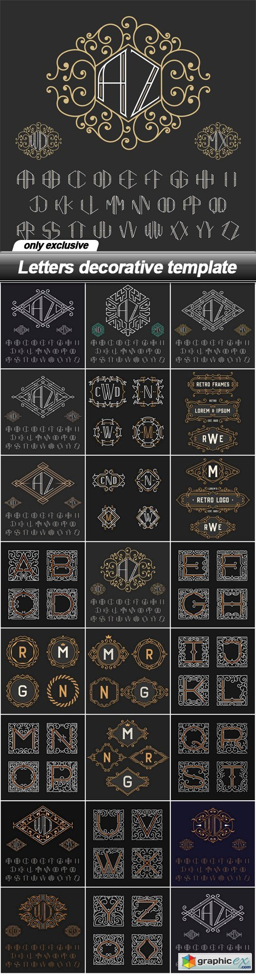 Letters decorative template - 23 EPS