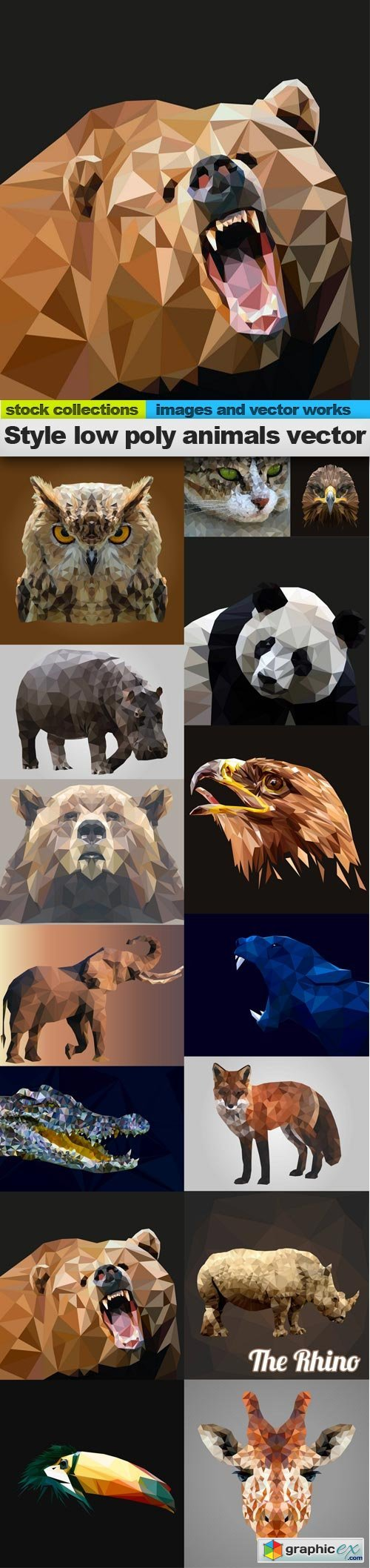 Style low poly animals vector, 15 x EPS