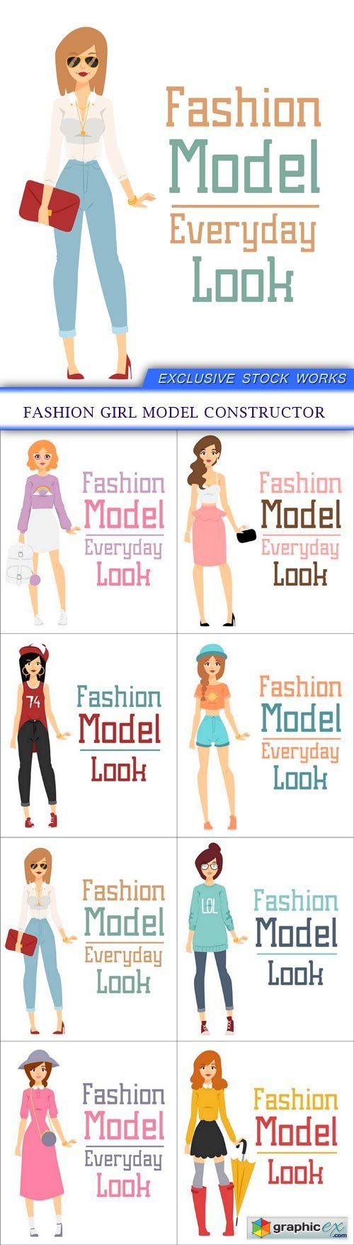 Fashion girl model constructor 8x EPS