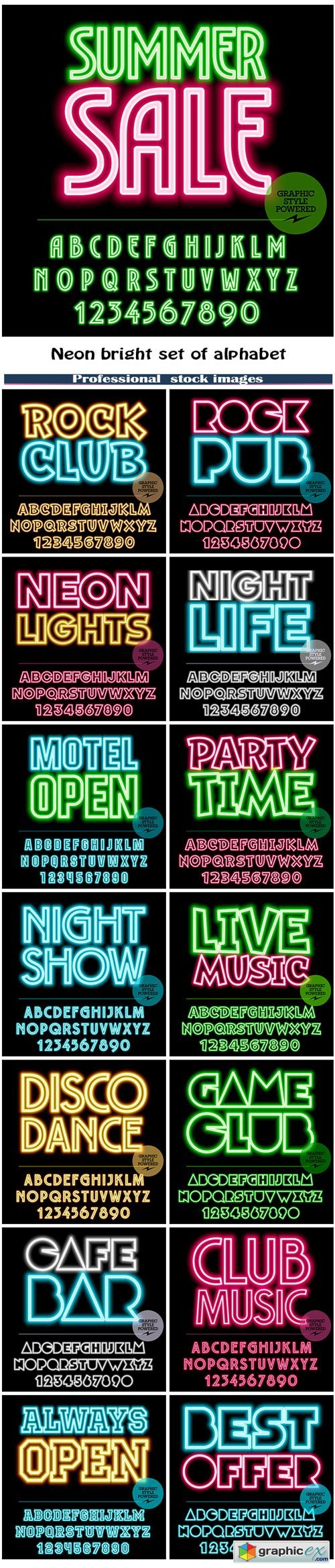 Neon bright set of alphabet letters, numbers and punctuation symbols
