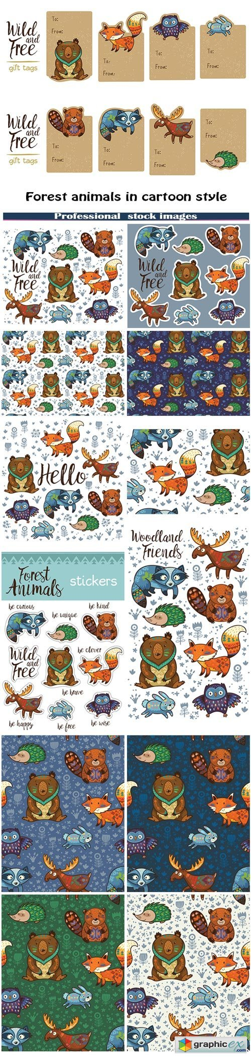 Forest animals in cartoon style