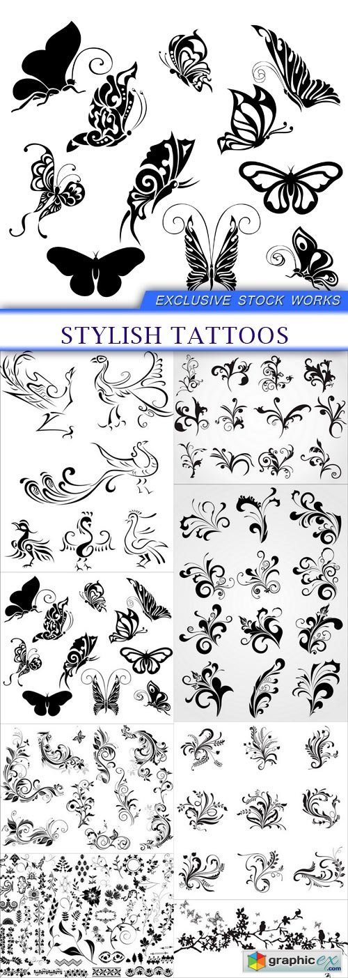 stylish tattoos 8X EPS