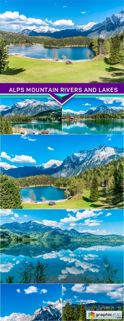 Alps mountain rivers and lakes 7x JPEG