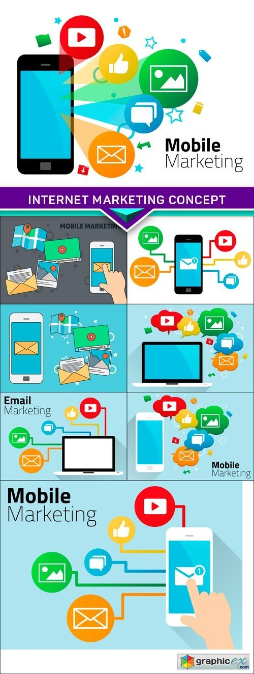 Internet Marketing Concept with Laptop and Icons 8x EPS