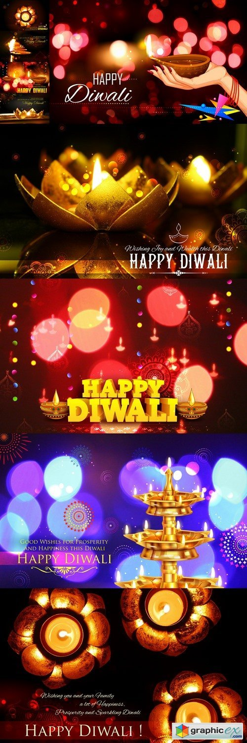 Golden diya stand on abstract Diwali background 2