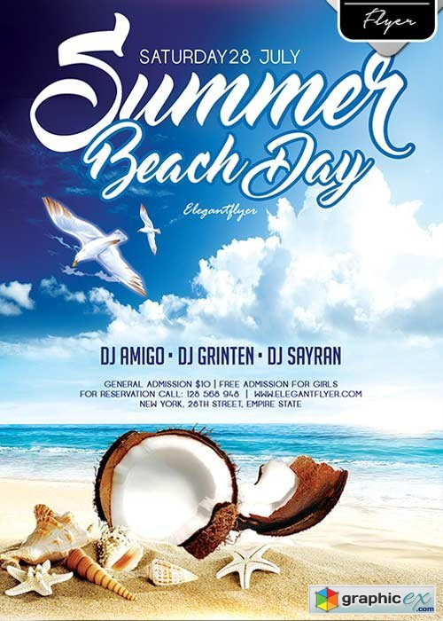 Summer Beach Day Flyer PSD Template + Facebook Cover