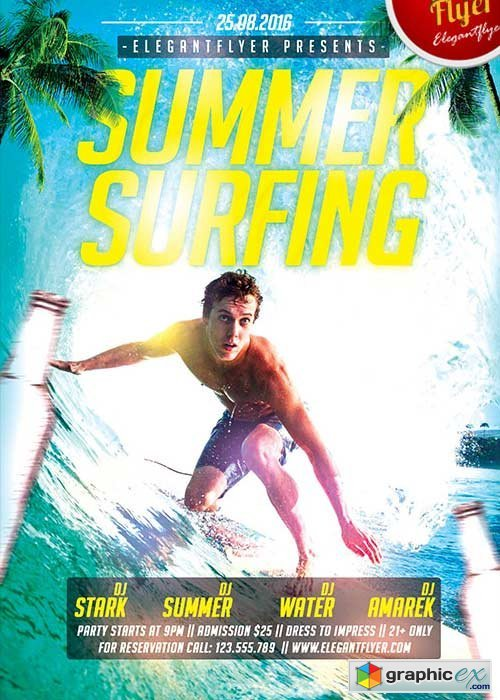 Summer Surfing Flyer PSD Template + Facebook Cover