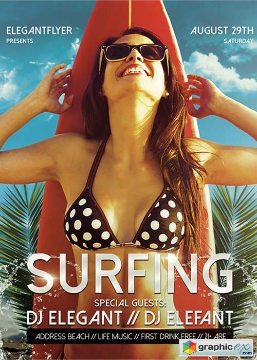 Surfing Flyer PSD Template + Facebook Cover
