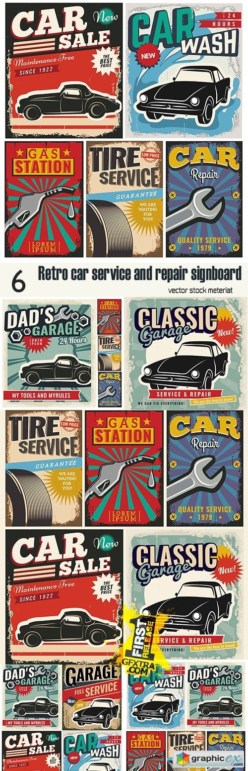 Retro car service and repair signboard