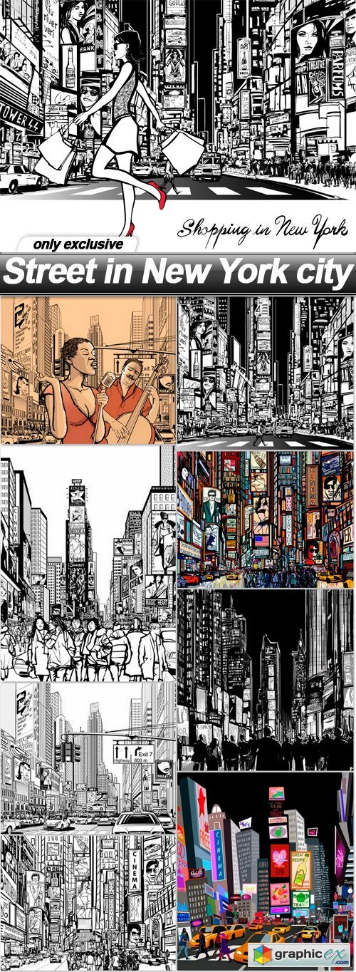 Street in New York city - 9 EPS