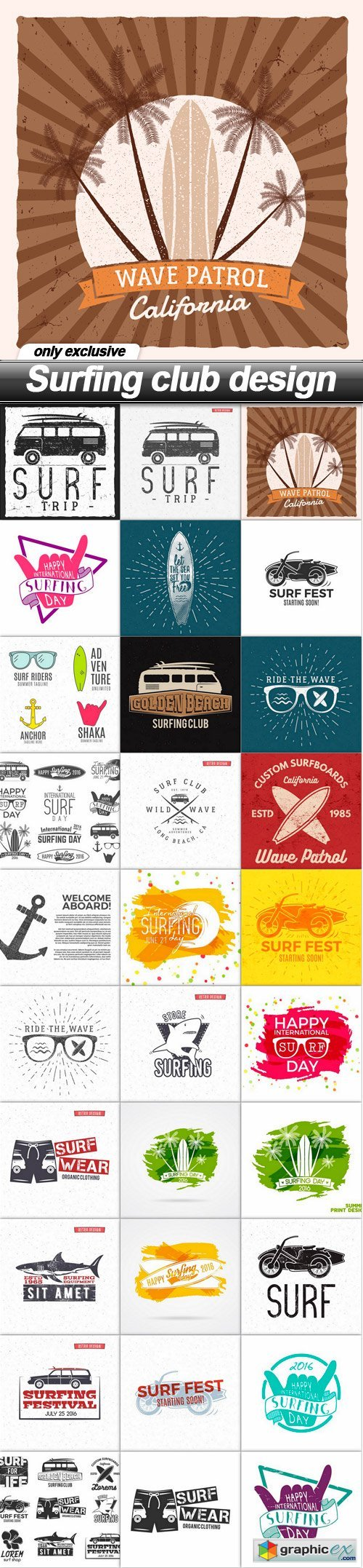 Surfing club design - 30 EPS
