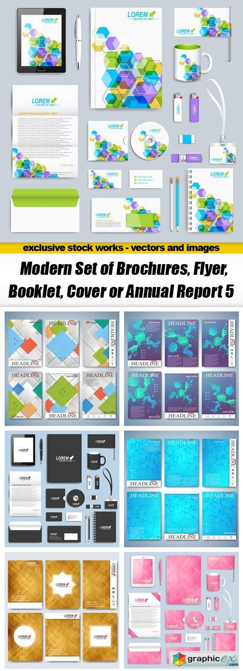 Modern Set of Brochures, Flyer, Booklet, Cover or Annual Report 5 - 18xEPS