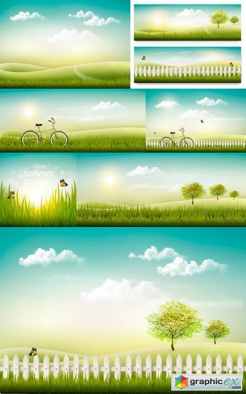 Summer Countryside Landscape Background