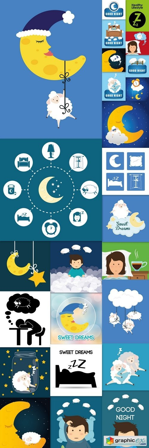Sweet dreams design, vector illustration eps 2