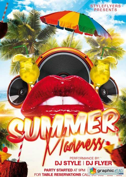 Summer Madness Party PSD Flyer Template