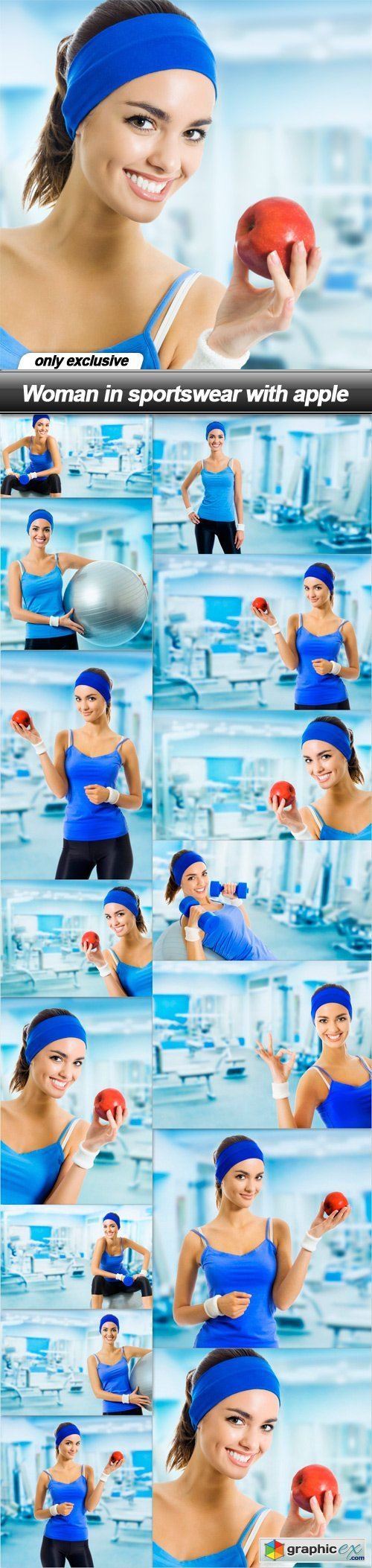Woman in sportswear with apple - 15 UHQ JPEG