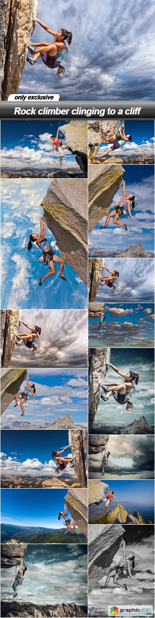 Rock climber clinging to a cliff - 44 UHQ JPEG