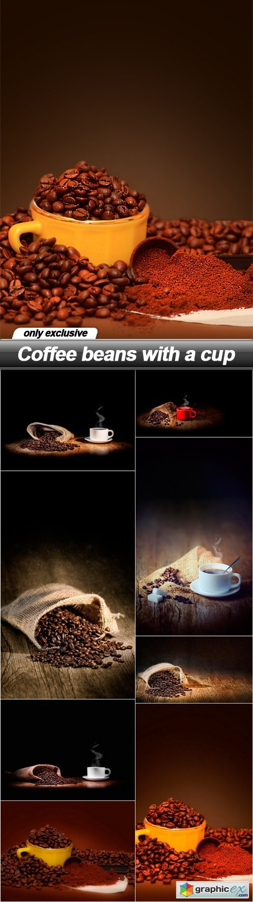 Coffee beans with a cup - 8 UHQ JPEG