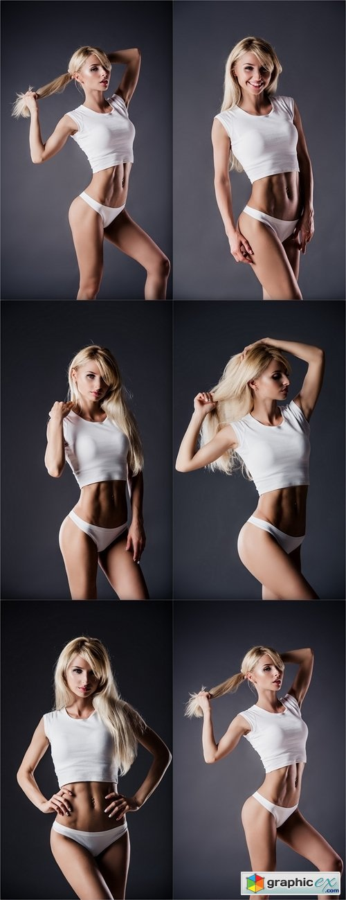 Fitness blonde woman shows her body