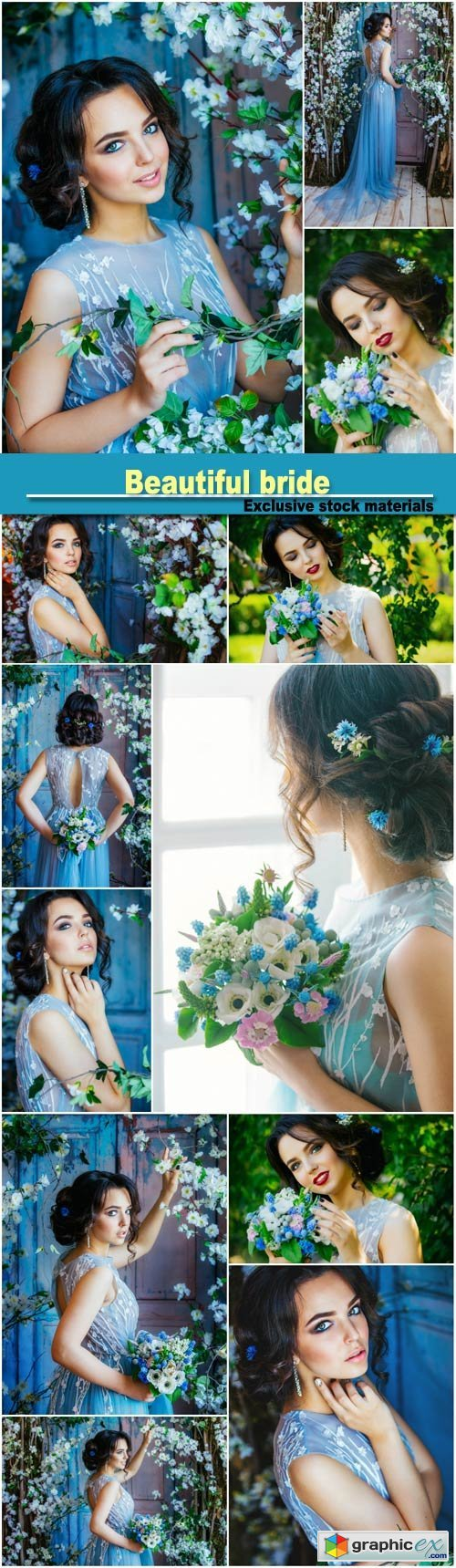 Beautiful bride, girl with flowers
