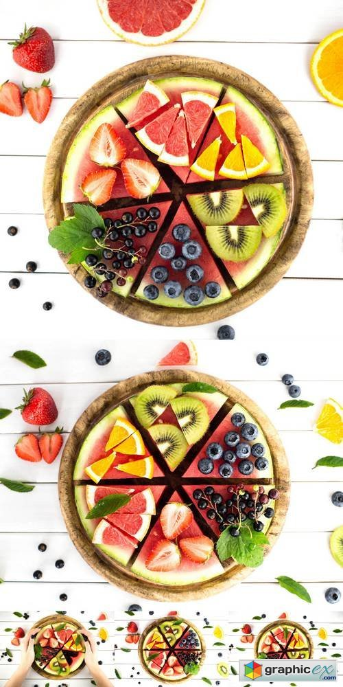 Sliced Juicy Watermelon Pizza