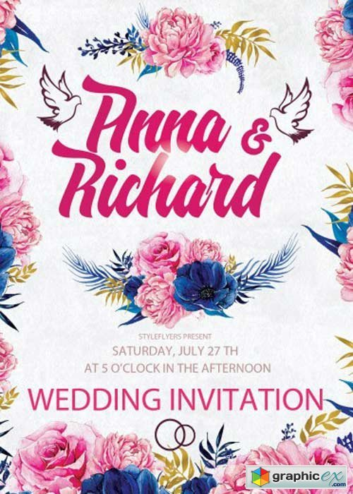 Wedding Invitation Psd Flyer Template Free Download Vector Stock